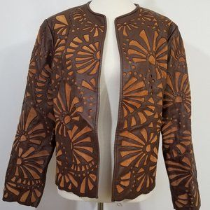 CHICOS Genuine Leather Jacket with Suede Inserts M